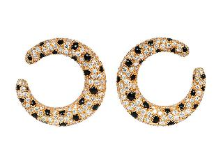A pair of diamond onyx earclips by Cartier