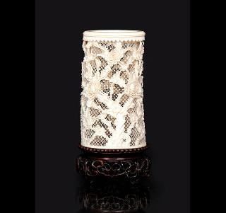 Fine ivory brushpot with fretwork