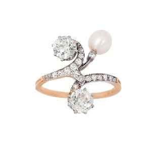 Diamant-Ring mit Naturperle