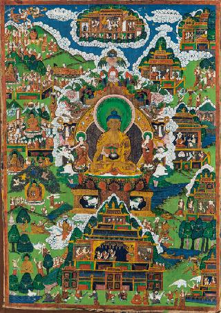 A thangka 'The life of Buddha Shakyamuni'