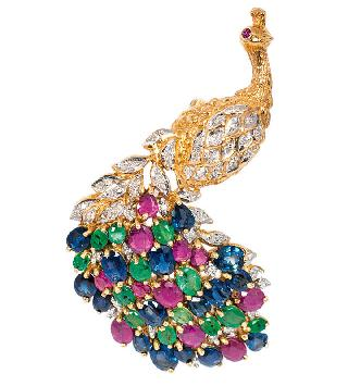 A brooch 'Peacock' with rubies, emeralds and sapphires