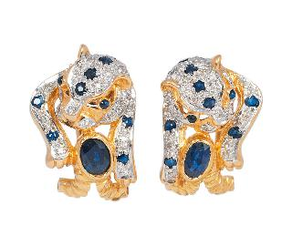 A pair of sapphire diamond earpendants 'Panther'