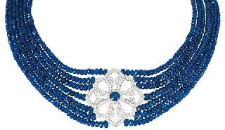 A high carat, colourful sapphire diamond necklace