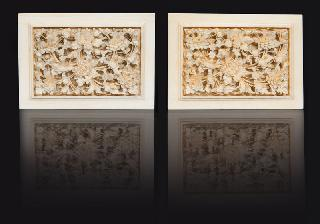 A pair of fine Canton ivory plaques with floral motifs