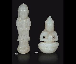 A small jade-carving 'Praying Buddha'