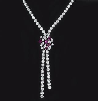 A high quality, fine-white diamond ruby necklace by Wempe