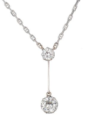 An Art Nouveau diamond pendant with necklace