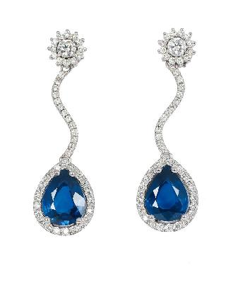 A pair of highquality sapphire diamond earpendants