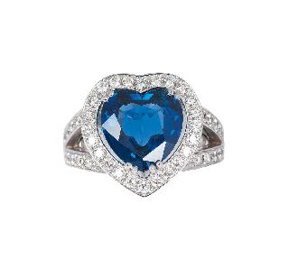 A heartshaped sapphire diamond ring