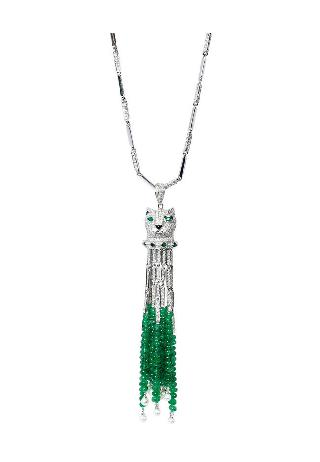 An emerald diamond pendant 'Panther' with necklace in Art-Déco style
