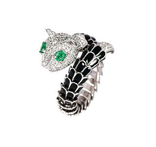 A diamond emerald ring 'Panther'