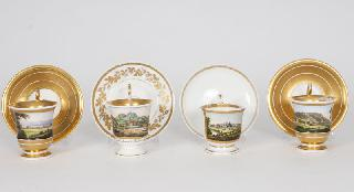 A set of 4 topographical Biedermeier cups