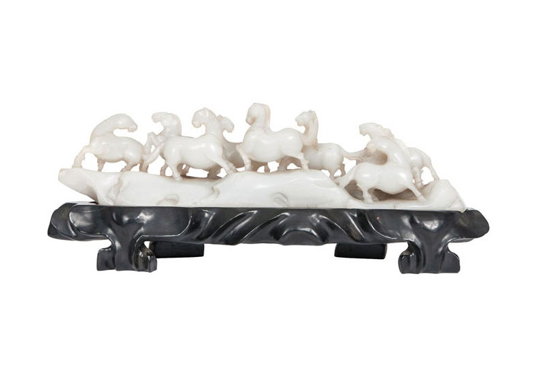 An exceptional jade carving 'Horses'