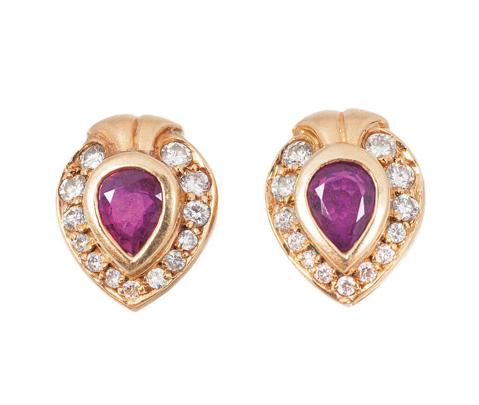 A pair of ruby diamond earstuds