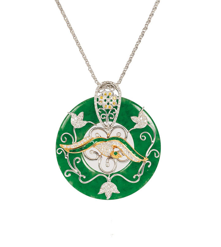 A jade pendant with diamonds and emeralds 'Bird'