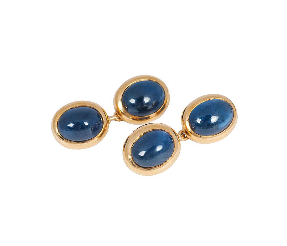 A pair of sapphire cuff links