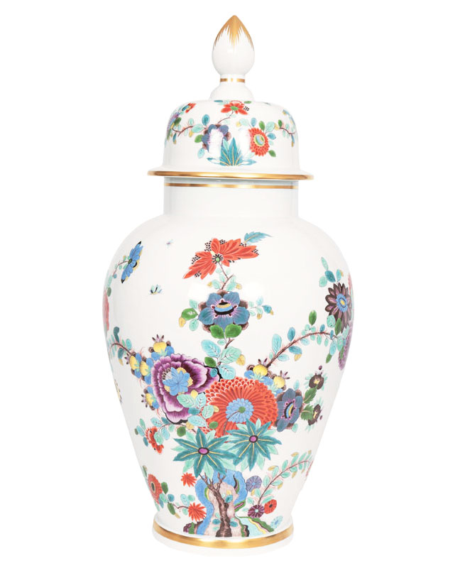 A large covered vase with Indian painting and butterflies