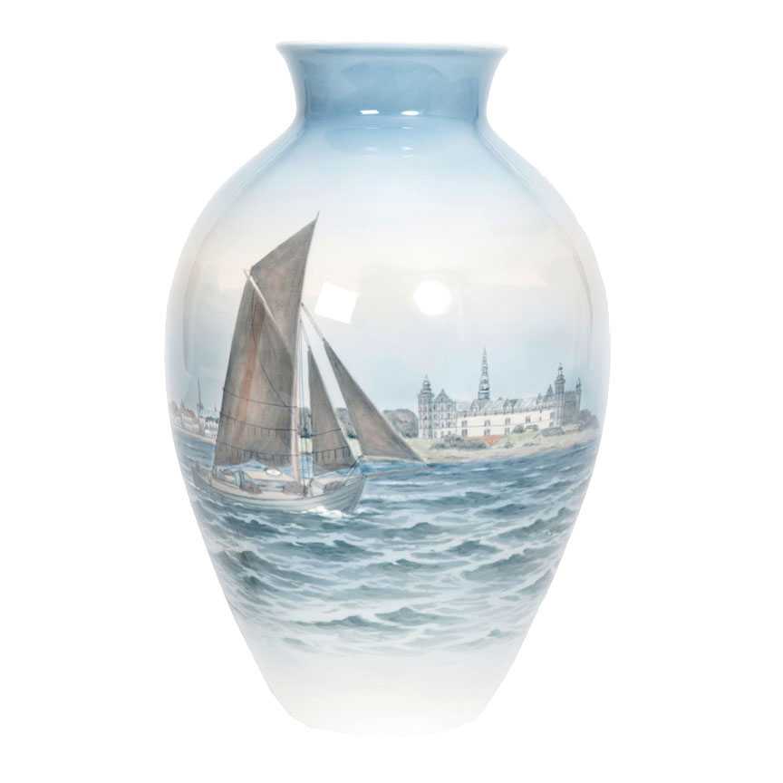 A large vase with sailing boats