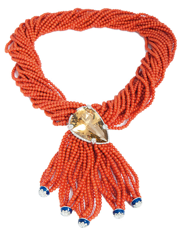 A splendid coral necklace with large citrine clasp