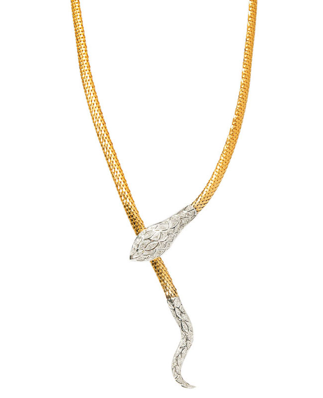 A golden necklace 'Snake' with diamonds