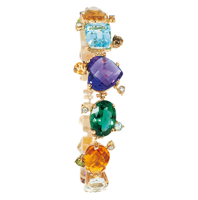 A colourful amethyst-citrine-topaz bracelet