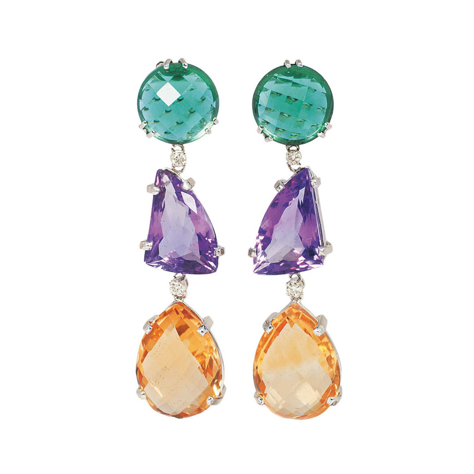 A pair of topaz amethyst earpendants