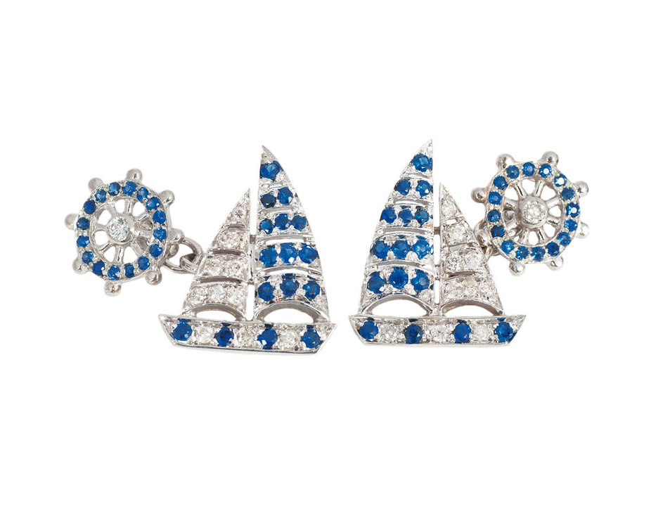 A pair of sapphire diamond cuff links 'Ships'