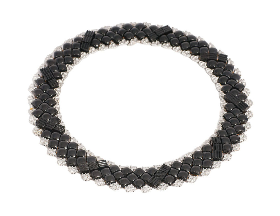 An extraordinary onyx diamond necklace with matching bracelet by jeweller Wilm