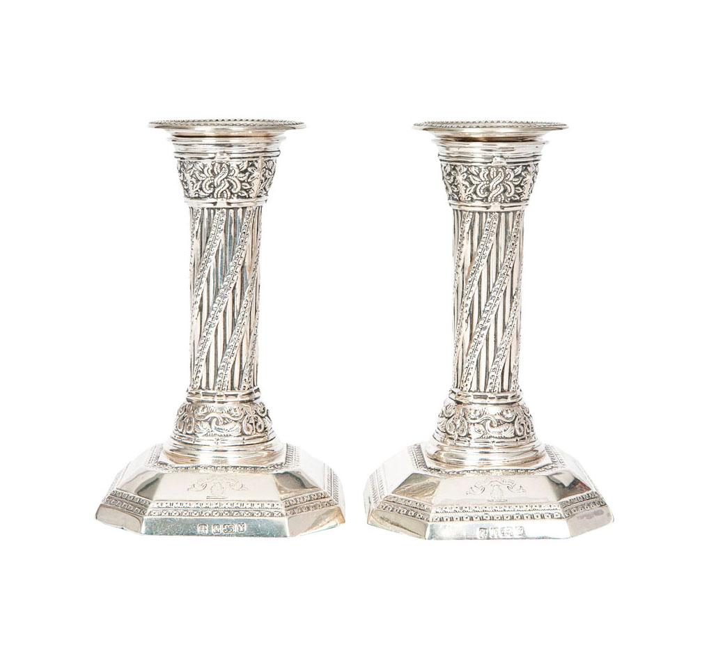 A pair of Victorian candlesticks