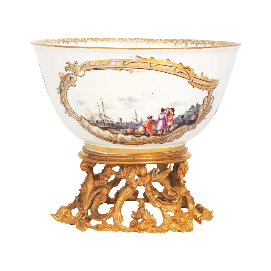 A bowl of museum-like quality with Kauffahrtei scenes by Christian Friedrich Herold