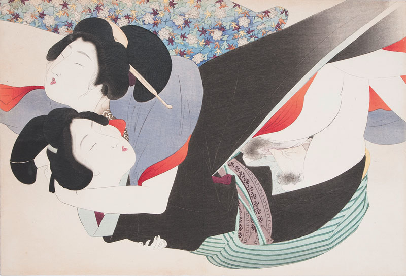 A set of 6 Shunga woodblock prints