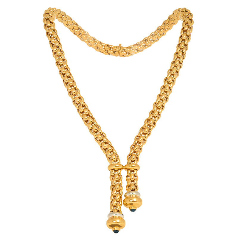 A highcarat golden necklace with matching bracelet of the collection 'Novecento' by Fope