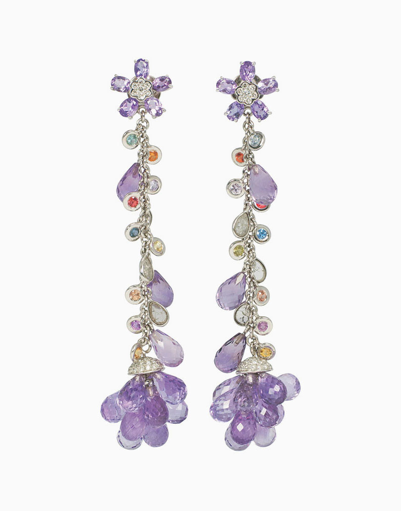 A pair of modern amethyst diamond earpendants