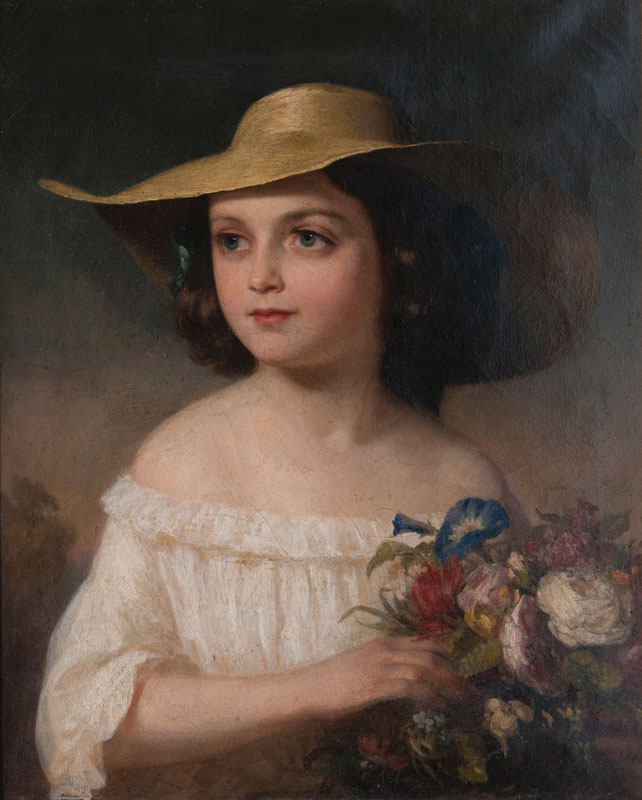 Straw-hatted Girl with Bunch of Flowers