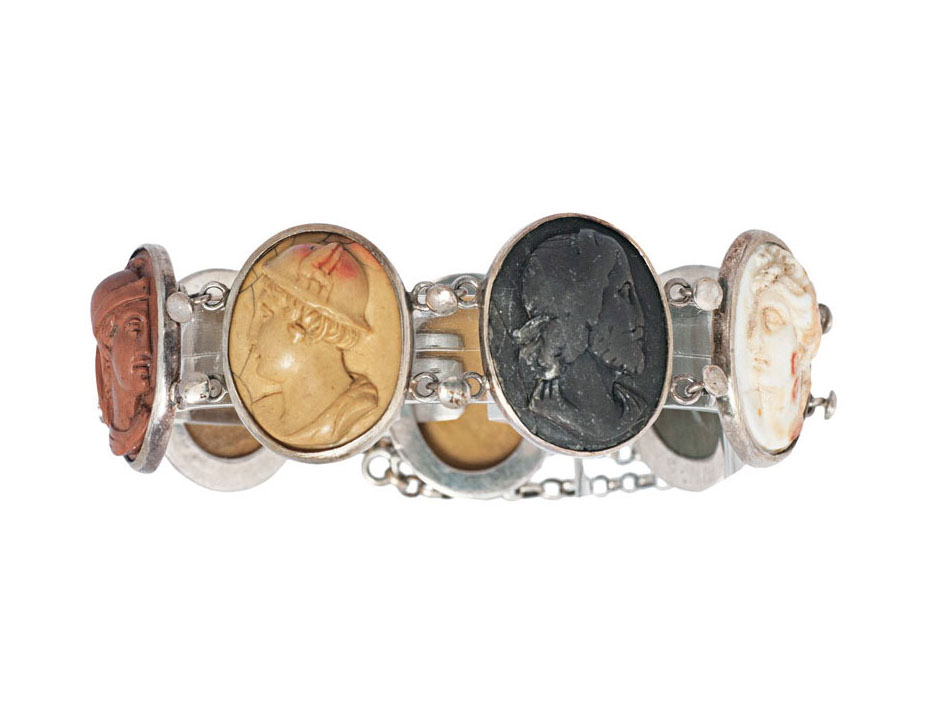 A cameo bracelet with portraits of antique gods and philosopher