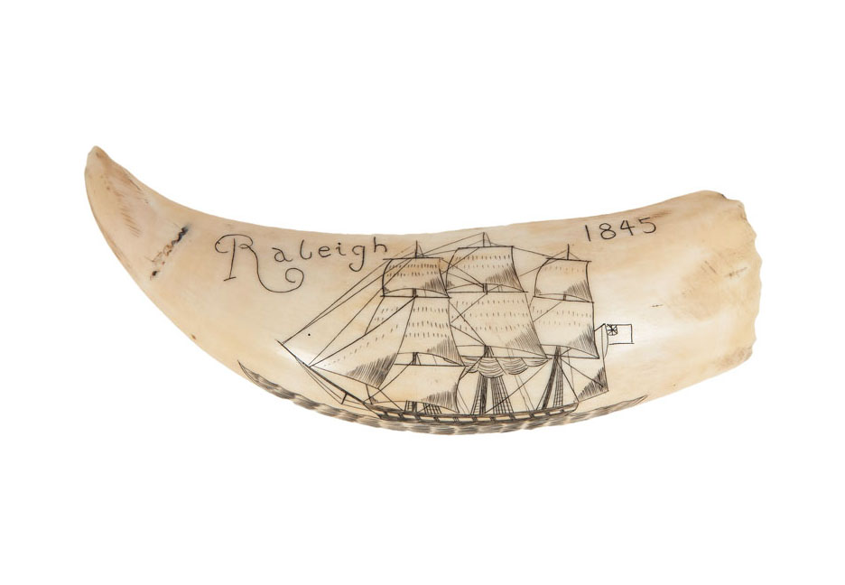 A small scrimshaw 'Three-master'