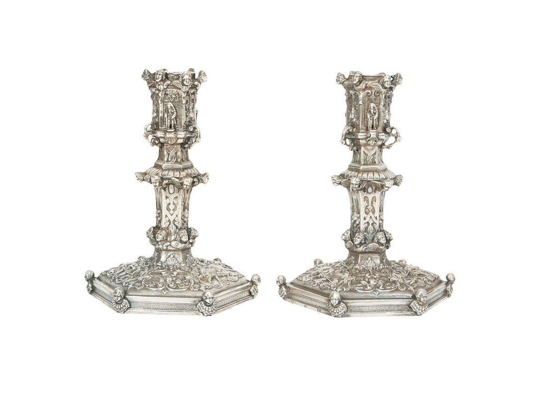 A pair of candlesticks of Renaissance style