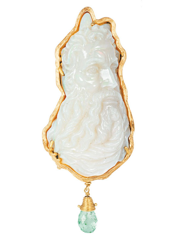 A rare opal pendant with picture of Moses by Michelangelo