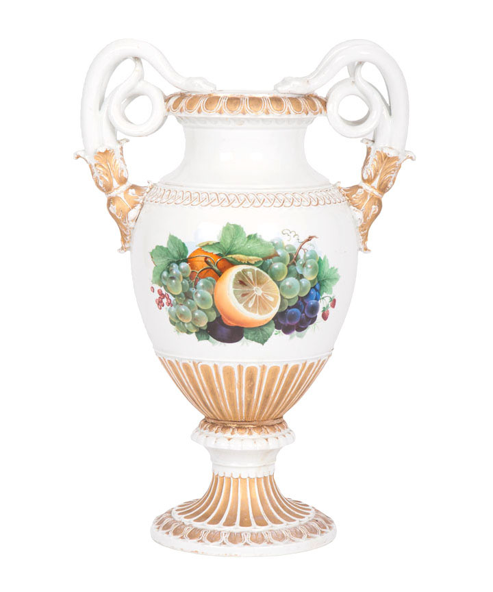 An impressive vase with snake-formed handles and fruit decor