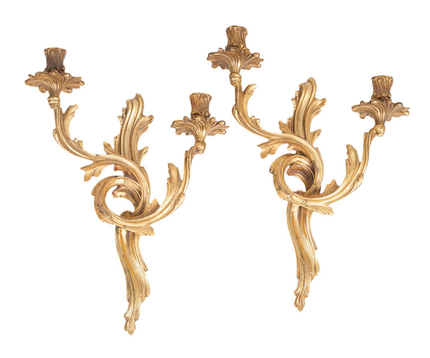 A pair of wall appliques of Louis Quinze style