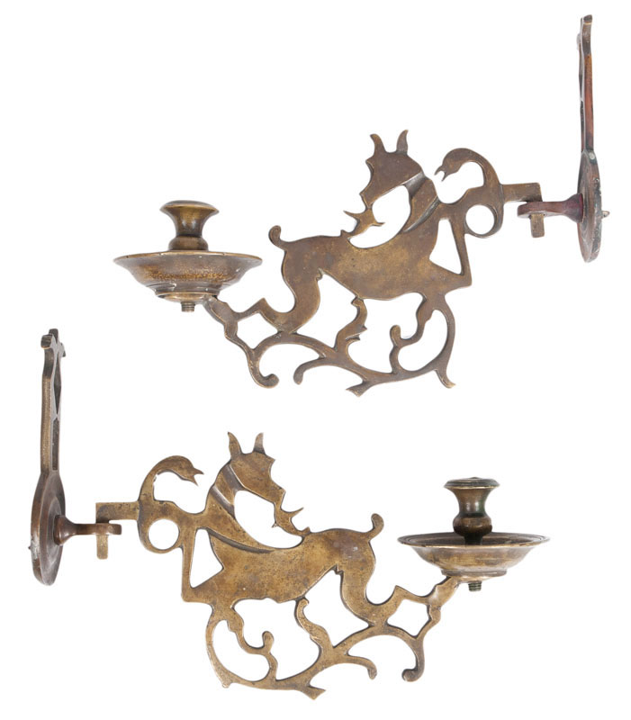 A pair of early baroque bronze-sconces
