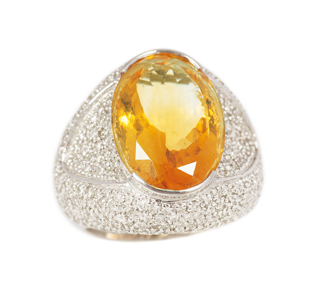 A large citrine diamond ring