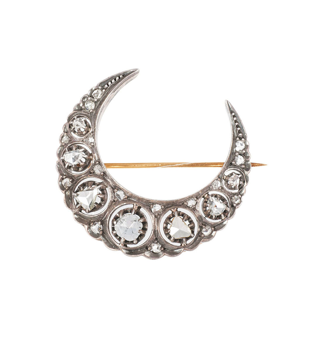 A french Belle-Epoque brooch with diamonds 'Moon'