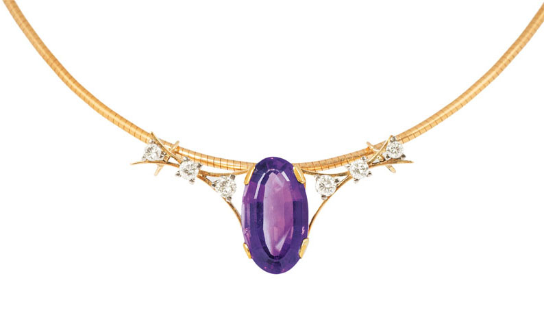 An amethyst diamond pendant with necklace