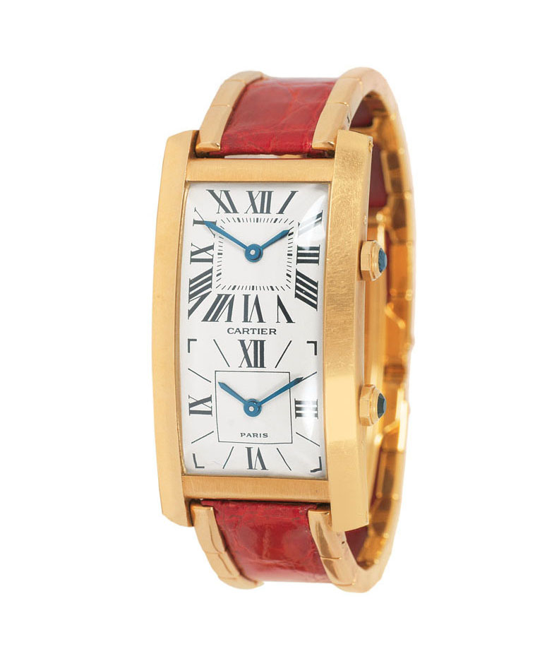 Damen-Armbanduhr 'Tank Double Time Zone' von Cartier