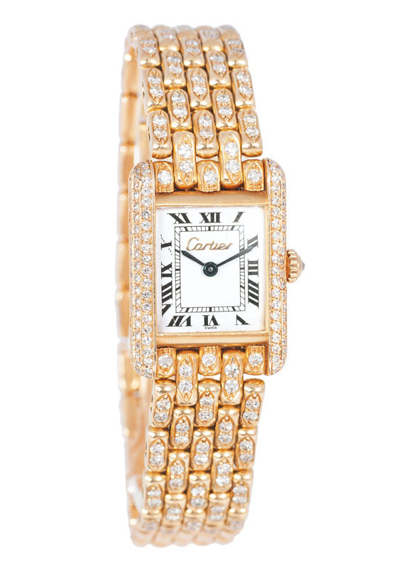 A lady's watch 'Tank' with diamonds by Cartier