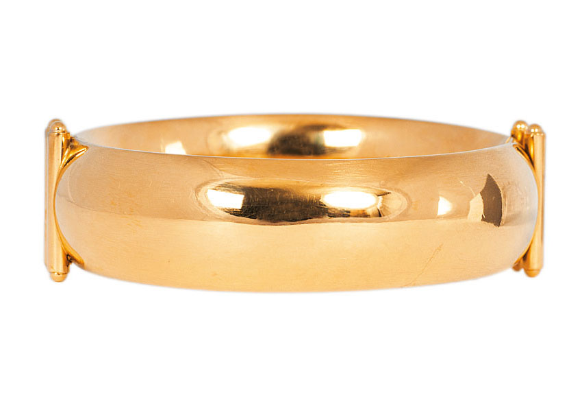 A golden bangle bracelet