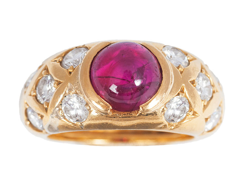 A ring with diamonds and one synthetical ruby