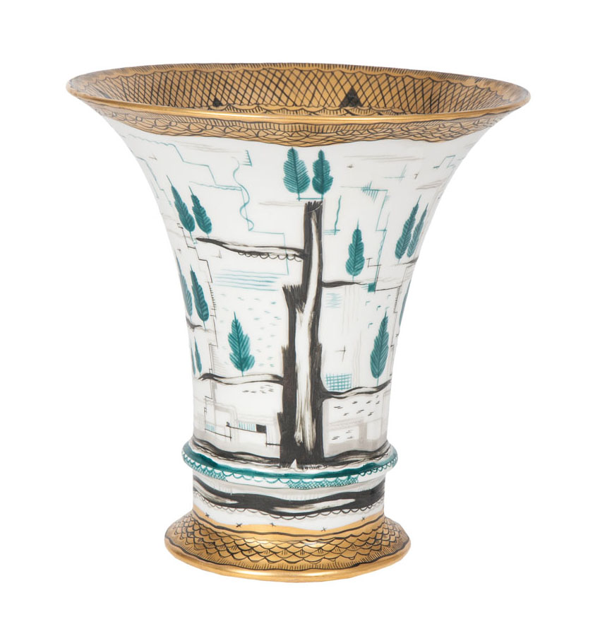 An exceptional vase with geometric decor
