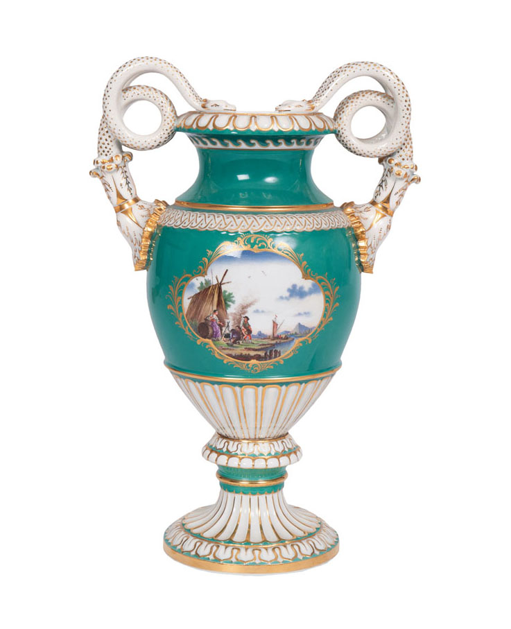 An opulent vase 'Russian green' with snake-formed handles